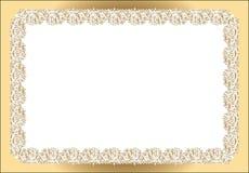 Rocznika prostokątny ramowy biały złoto Obrazy Royalty Free