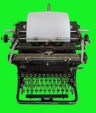 Rocznika ręczny maszyna do pisania odizolowywający na zielonym tle Zdjęcie Royalty Free