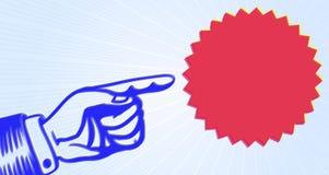 Rocznika reklamowy sztandar: ręka z wskazywać palec Fotografia Royalty Free