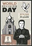 Rocznika Religijny plakat royalty ilustracja