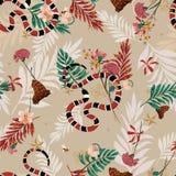 Rocznika retro las w bezszwowym deseniowym wektorze z wężem, ilustracji