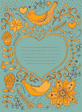 Rocznika retro tło z kwiecistym ornamentem i serce w m Zdjęcia Royalty Free