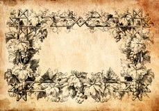 Rocznika rośliny rama na starym papierze Zdjęcia Royalty Free
