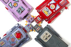 Rocznika robota blaszane zabawki Zdjęcia Royalty Free