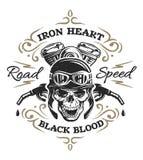 Rocznika rowerzysty czaszka, koszulka druki Zdjęcie Stock
