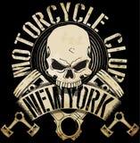 Rocznika rowerzysty czaszki emblemata trójnika grafika royalty ilustracja