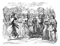 Rocznika rysunek Biblijna opowieść królewiątka David taniec i odświętność bóg Z ludźmi ilustracja wektor