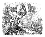 Rocznika rysunek Biblijny świat i ogród rajski Tworzący bogiem royalty ilustracja