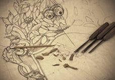 rocznika rysunkowy woodcarving Obrazy Stock