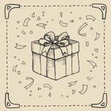 Rocznika rysunku tło z prezenta pudełkiem również zwrócić corel ilustracji wektora ilustracja wektor