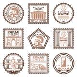 Rocznika Rzym cywilizaci Antyczni znaczki Ustawiający royalty ilustracja
