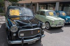 Rocznika 50, 60 - ` s Fiat samochody Zdjęcia Stock