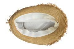 Rocznika S?omianego kapeluszu fasion dla kobiety odizolowywaj?cej na bia?ym tle zdjęcie stock