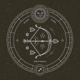 Rocznika Sagittarius zodiaka znaka cienka kreskowa etykietka Retro wektorowy astrologiczny symbol, mistyczka, święty geometria el royalty ilustracja