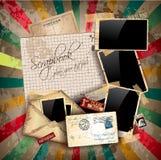 Rocznika scrapbook skład z starym stylem Fotografia Royalty Free