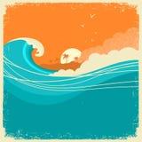 Rocznika Seascape z wyspą na starym papierowym plakacie dla teksta ocean royalty ilustracja