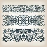 Rocznika setu granicy ramy ślimacznicy kaligrafii ozdobny wektor Fotografia Royalty Free