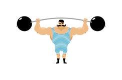 Rocznika siłacz Antyczna atleta Retro bodybuilder barbell S ilustracja wektor