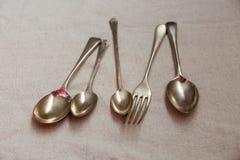 Rocznika silverware, łyżka i lud, zdjęcie stock
