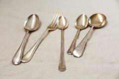 Rocznika silverware, łyżka i lud, obraz royalty free