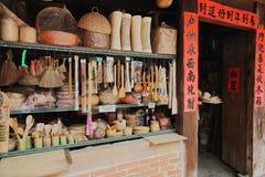 Rocznika sklep handmade bambusowe dzienne podstawy Zdjęcia Stock