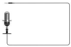 Rocznika srebny mikrofon jak ramę z przestrzenią dla teksta Obrazy Stock