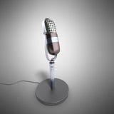 Rocznika srebny mikrofon na popielatym tle 3d odpłaca się ilustracja wektor