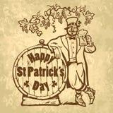 Rocznika St Patricks dnia Szczęśliwa karta lub plakat Leprechaun charakter trzyma piwnego kubek opiera na baryłce z tekstem Ręka ilustracja wektor
