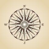 Rocznika stary antykwarski nautyczny kompas wzrastał Wektoru znaka etykietki emb ilustracja wektor