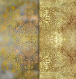Rocznika stary kwiecisty złoty projekt na plamy tle ilustracji