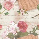 Rocznika stary papier z ręka pisać listami, akwarela wzrastał kwiaty dla świstek książki ilustracja wektor