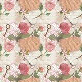 Rocznika stary papier z ręka pisać listami, starzejący się klucze, akwarela wzrastał kwiaty dla świstek książki ilustracji