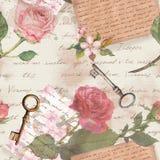 Rocznika stary papier z r?ka pisa? listami, starzej?cy si? klucze, akwarela wzrasta? kwiaty dla ?wistek ksi??ki fotografia stock