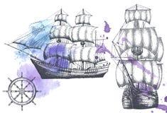 Rocznika statek Rzeczy na morskim temacie Fotografia Royalty Free
