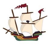 Rocznika statek z żaglami i czerwonymi flaga Zdjęcie Stock