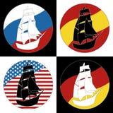 Rocznika statku loga żeglowania łódź Obraz Royalty Free