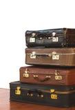 Rocznika stos Antyczne walizki Projekt i podróży pojęcie obraz royalty free