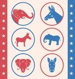 Rocznika styl guzik dla głosowania lub Głosować kampania wybory ilustracja wektor