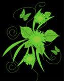Rocznika styl z motylem i kwiatami Zdjęcia Royalty Free
