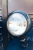 Rocznika stylowy błękitny samochodowy reflektor Zakończenie Zdjęcie Stock