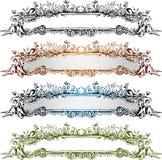 Rocznika stylowy pawi sztandar, etykietka/ royalty ilustracja