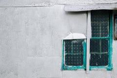 Rocznika stylu ścienny i szklany okno w Hong Kong Fotografia Stock