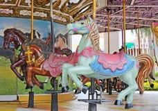 Rocznika stylu koński carousel na boisku obrazy royalty free