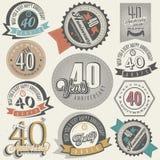 Rocznika stylu 40 rocznicy kolekcja. Zdjęcia Royalty Free