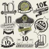 Rocznika stylu 10 rocznicy kolekcja Zdjęcie Stock