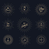 Rocznika sunburst modnisia loga elementy Obraz Stock