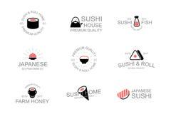 Rocznika suszi i jedzenia japoński logo emblematy, etykietki, odznaki i inni oznakuje przedmioty, Wasabi, soja, kumberland, rolki Fotografia Royalty Free