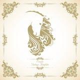 Rocznika szablon z ornamentem i dekoracyjnym kwiecistym koniem ilustracja wektor