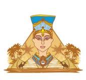 Rocznika sztandar z Egipską królową Fotografia Royalty Free