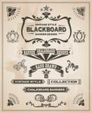 Rocznika sztandaru retro ręka rysujący set royalty ilustracja